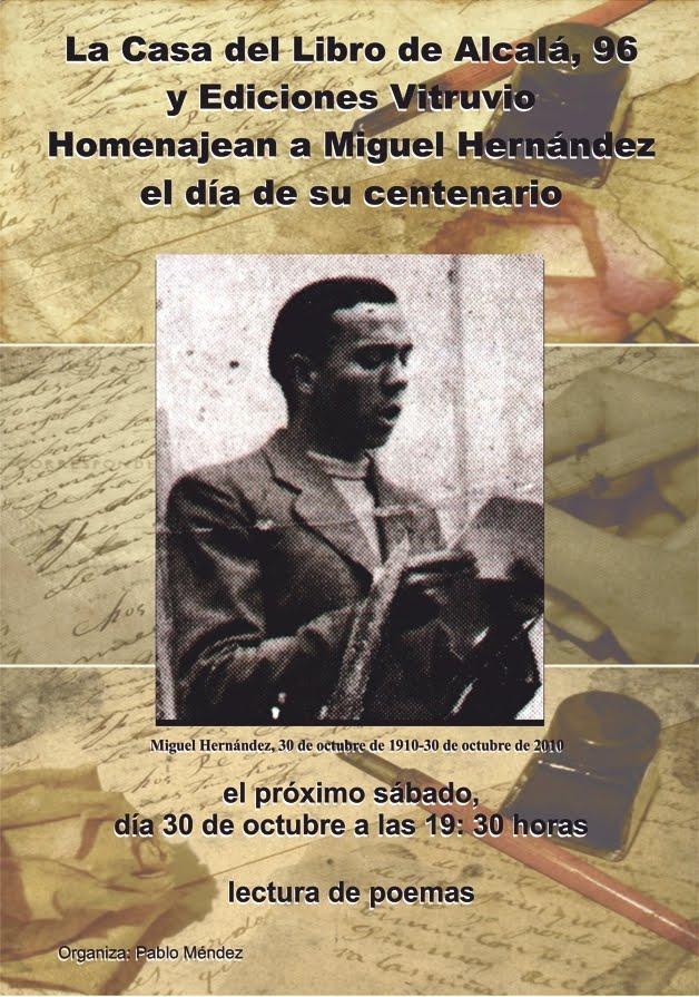 La casa del libro y Ediciones Vitruvio homenajean a Miguel Hernández en el día de su centenario